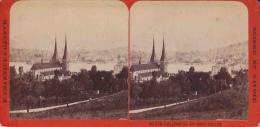 Photo Stéréoscopique Lucerne Et Le Mont Pilate 1894 Photo F. Charnaux Genève - Photos Stéréoscopiques