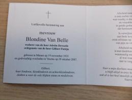 Doodsprentje Blondine Van Belle Menen 19/11/1933 Veurne 29/10/2007 ( Adirën Dewaelle En Gilbert Pattijn) - Religione & Esoterismo