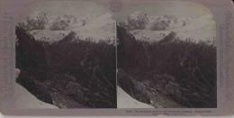 Photo Stéréoscopique, La Route Tortueuse Vers Les Sommets Enneigés, Alpinisme 1904 Photo G.H. Graves (glacier) - Photos Stéréoscopiques