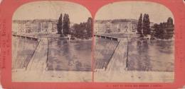 Photo Stéréoscopique, Genève, Le Pont Et Hôtel Des Bergues (avant 1900) - Photos Stéréoscopiques