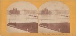 Photo Stéréoscopique, Genève, Le Pont Du Mont Blanc Et Hôtel Des Bergues (avant 1900) - Photos Stéréoscopiques