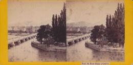 Photo Stéréoscopique, Genève, Le Pont Du Mont Blanc, Hôtel Des Bergues, Et île Rousseau (vers 1890) - Photos Stéréoscopiques