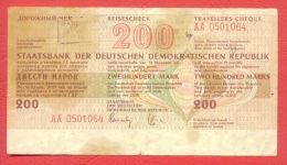 """B393 / Reiseschecks """"Travellers Cheque"""" Der Staatsbank Der DDR 200 MARK  Deutschland Germany Allemagne Germania - 200 Mark"""