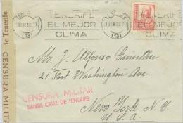 España 1938. Canarias. Carta De Tenerife A Nueva York. Censura. - Marcas De Censura Nacional