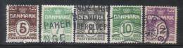 PA16 - DANIMARCA 1921 , Serie Cifra N. 132/136 Usata - 1913-47 (Christian X)