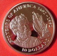 ISLAS COOK - 10 Dollars 1990 PLATA Proof KM90 - 500 Años / 500 Years America - Islas Cook
