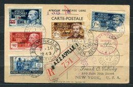 """Italy 1943 Register Postal Card To USA New York Overprint """"LIBRE"""" - Unclassified"""