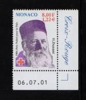 MONACO 2001-1 Timbre (1) N°YT 2315** -Centenaire Des Prix Nobel Henri Dunant 1.22€ CDF Daté Texte - Monaco