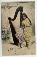 Enfants--1906--Deux Fillettes Drapées (harpe ,fleurs)  éd D.L Paris--cachets Guérande Et Mesquer-44-- - Portraits