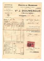 Facture Magasin DOUMERGUE à BEZIERS , Fruits Et Primeurs -1937 - Timbre Fiscal Distributeurs Auxiliaires 25 C TBE - Alimentaire