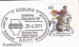 1991 OSBURG ROMAN VASE EVENT COVER Card Germany Archaeology Horse Stamps - Archaeology