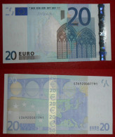 ITALIA ITALY 20 EURO 2002 DRAGHI SERIE S 36920087791 J033C1 UNC FDS 2/3 CONSECUTIVE - EURO