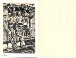 1. WK Patriotische Karte, Eisenbahn Waggon Mit Soldaten Fährt An Die Front, Künstlerkarte Strieffler Landau - Weltkrieg 1914-18
