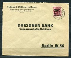 Germany 1923 Cover To Berlin Bank Mullheim In Baden Sigle Usage Overprint - Germany