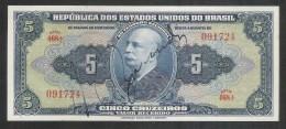 P.134 - Brazil, 5 Cruzeiros, Valor Recebido, 1943, Hand-signed. UNC. - Brésil
