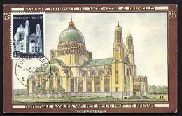 RARE CARTE MAXI ANCIENNE- BELGIQUE- BRUXELLES- BASILIQUE NATIONALE DU SACRÉ COEUR-  1952- 2 SCANS - 1951-1960
