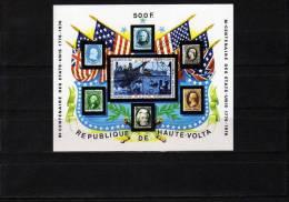 200 Jahre USA 1975 Schiffe Auf Briefmarken Obervolta Block 31 O 3€ Präsidenten Flagge Hojita M/s Flag Sheet Burkina Faso - Haute-Volta (1958-1984)