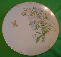 Vintage Sweden ? Scandinavia S HULTGREN Hand Painted PLAQUE Plate Flowers Flora Butterfly Rare - Ceramics & Pottery