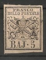Eglise, Etats Pontificaux (Italie). N° 6. Oblitéré Plutôt Papier Blanc Que Rose - Etats Pontificaux