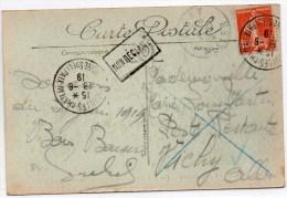 """1919 - CP NON RECLAMMEE Avec TàD """"VERSAILLES CHATEAU / CONGRES DE LA PAIX"""" Pour VICHY - REBUT - Postmark Collection (Covers)"""