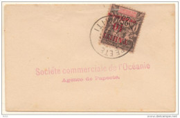 Petite Lettre 9cm X 6cm De 1903 Avec 25c Groupe Surch Tahiti 10 Centimes Dallay N° 19 - Oceania (1892-1958)
