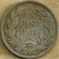 CHILE 1 PESO LAUREL LEAVES  FRONT & BIRD EMBLEM BACK 1922 AG SILVER(?) F KM? READ DESCRIPTION CAREFULLY !!! - Chile