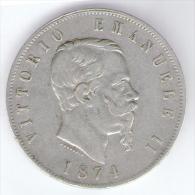 ITALIA 5 LIRE 1874 VITTORIO EMANUELE II AG SILVER - 1861-1946 : Regno
