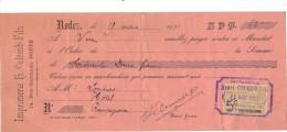Lettre Change 1921 COLOMB Imprimerie RODEZ Pour Rieupeyroux Aveyron - Timbre Fiscal - Lettres De Change