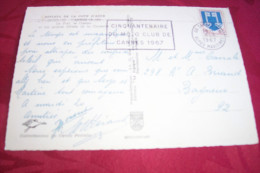 TIMBRE OBLITERATION FLAMME° 06  CANNES LE PORT LE CASINO  / CINQUANTENAIRE DU MOTO CLUB DE CANNES 1967 - Marcophilie (Lettres)