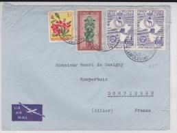 CONGO BELGE - 1956 - LETTRE PAR AVION De LEOPOLDVILLE  Pour DOMPIERRE - Congo Belge