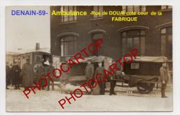 AMBULANCE-Remorques-DENAI N-Transport-Blesses-Medec Ine-Croix Rouge-Carte Photo Allemande-Guerre14-18-1WK -Militaria-59- - Denain