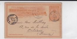 CONGO BELGE - 1899 - CARTE ENTIER POSTAL De BOMA Pour ORLEANS
