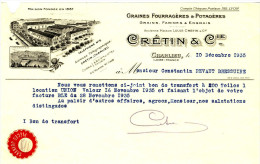 CHARLIEU. -  CRETIN& CIE. Facture Demi- Format A4 - Agriculture