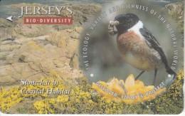 "JERSEY ISL. - Bird, Jersey""s Bio Diversity/Stonechat, CN : 57JERC(0 With Barred), Tirage %20000, Used - United Kingdom"