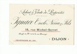 """DIJON --Carte De Visite  De """"IGNACE  Oncle , Neveu Et Fils """"Agent Immovilier 18 Rue Michel Servet - Cartes De Visite"""
