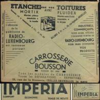 Belgique 1938. Enveloppe CCP. Automobiiles Imperia, Radio-Luxembourg (RTL), Publicités Pour Industriels Et Commerçants - Voitures