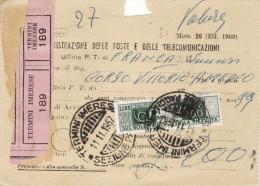 TERMINI IMERESE  ( PA )  /   Città  - Avviso Consegna Pacco  11.11.1967 -  Pacchi Postali Lire 200 Isolato - 6. 1946-.. Repubblica