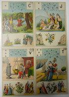 53 Cartes Divinatoires 1860-1880 Astrologie Magie Alchimie Manque 1 Carte Le 4 De Trèfles 9x13 Images Genre Chromos - Religion & Esotericism