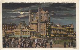 Original Stamp & Postmark 1928 PC - Atlantic City New Jersey - Marlborough Blenheim & Dennis Hotels - 2 Scans - Atlantic City