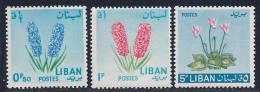 Lebanon, Scott # 418-9,421 MNH Flowers, 1964 - Liban