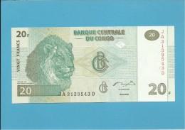 CONGO - 20 FRANCS -  30.06.2003 - P 94 - UNC. - Sign. 12 - Printer HdM-B.O.C. - DEMOCRATIC REPUBLIC - Demokratische Republik Kongo & Zaire