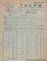 94 444 GENTILLY SEINE 1947  Construction Outillage Mecanique FACOM F.A.C.O.M Succ LEGAT OLIVIER ( Usine à BOURTH EURE 27 - France