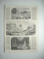 GRAVURE 1861. INAUGURATION STATUE VICE-AMIRAL BRUEYS A UZES, GARD. VILLAGE DE CERVETRI ET POSITION DE L'ANCIENNE CERAE.