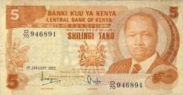 BILLET # KENYA # 5 SHILINGI TANO  # 1982 # PICK 19 # DANIEL T A  MOI # CIRCULE # - Kenya