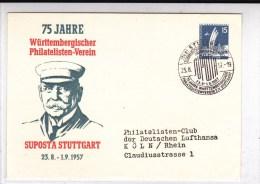 """BRD - 1957 - CARTE ENTIER POSTAL De BERLIN Avec """"SONDERSTEMPEL"""" 75 ANS De L'UNION PHILATELIQUE De STUTTGART - [7] Federal Republic"""