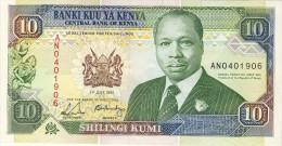 BILLET # KENYA # 10 SHILINGI KUMI # 1991 # PICK 24  # DANIEL TOROITICH  ARAP  MOI # NEUF # - Kenya