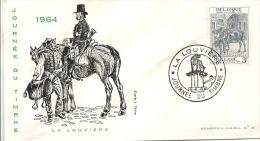 ENVELOPPE 1er JOUR  JOURNEE DU TIMBRE 1964  LA LOUVIERE - 1961-70