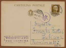 WW II SLOVENIA-ITALY, Vitore Emanuel 30 Cent CENSORED POSTCARD VESTONE/BRESCIA-LUBLIANA 1941 - Lubiana