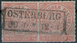 Osterburg Auf Paar 1/2 Groschen Orange - NDP Nr. 3 - Pracht - North German Conf.