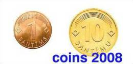Latvia 2008 - Coin 1 And 10 Santims    UNC - Letland